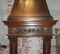 07B.......GREAT CARVED WALNUT CASTLE MANTLE......9FT 7 INCHES H X 69 INCHES W