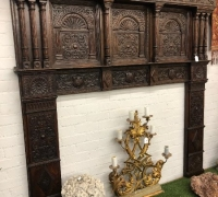 16....C. 1800...EXTRA LARGE GREAT CARVED ANTIQUE CASTLE MANTEL....95 W X 93 H....OPENING 66 W X 50 H....SEE 1460 TO 1462