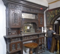 # 01B   1 OF THE FINEST CARVED ANTIQUE CASTLES MANTLES IN THE WORLD 117 H X 104 W SEE PHOTOS 969 TO 984 4 FT BAR CATEGORY