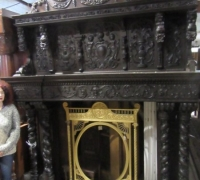 06-1 of the FINEST CARVED ANTIQUE CASTLE MANTLES IN THE WORLD!- 91'' W X 113'' H X 21''D WITH CROWN - C. 1860- SEE # 1189 TO1223