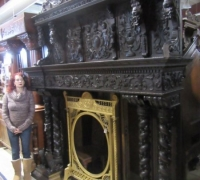 06A-1 of the FINEST CARVED ANTIQUE CASTLE MANTLES IN THE WORLD!- 91'' W X 113'' H X 21''D WITH CROWN - C. 1860- SEE # 1189 TO1223