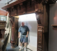 # 01A GREAT X LARGE ANTIQUE CASTLE MANTLE 114 W X 98 H...SEE 2832 TO 2837,2798,2801,2804 TO 2809 AND 1305 & 1306