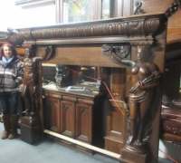 02.....GREAT ANTIQUE CASTLE MANTEL...88 W X 72 H SEE 1387 TO 1403