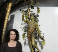 55-rare-antique-iron-bacchus-statue-with-original-finish-and-vaseline-grape-lights-64-h-x-24
