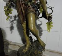 56-rare-antique-iron-bacchus-statue-with-original-finish-and-vaseline-grape-lights-64-h-x-24