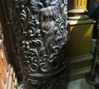 196- GREAT PR. OF FIMEST C. 1860 CARVED COLUMNS - 8' OR 10' HIGH - WALNUT