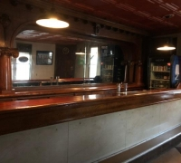 26B...ANTTIQUE MARBLE FRONT BAR W/CHERRY TOP 20 FT LONG