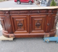 780...86 INCHES W X 37 INCHES H X 22 INCHES D...WALNUT MARBLE SIDEBOARD