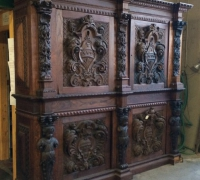 37 o - sold -HUGE  CARVED ANTIQUE   CABINET  - SEPARATING INTO   2    FRONT  BARS