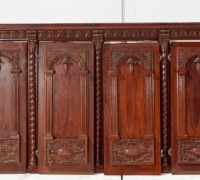 23A....GREAT CARVED FRONT BAR..8 PANELS 16 FT LONG..C. 1880
