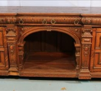27C....HEAVY OAK ENGLISH BACK BAR WITH CARVING ALL OVER...3 FT 7 IN H X 9 FT W X 3 FT D