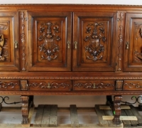 308- walnut - 96'' long - FIGURAL FRONT BAR - 53'' H WITH LEGS - 42'' H WITHOUT LEGS - 96'' L X 21 1/2'' D