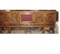 29 - GREAT CARVED ANTIQUE FRONT BAR - 124'' LONG - SEE #301 - #302 FOR DETAILED PHOTOS