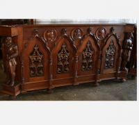 05 -front... GREAT CARVED WALNUT BARS - SIDEBOARDS W DOORS - (1) -102'' W X 52'' H X 24''D ...(1) - 77'' W X 40'' H X 25'' D - SEE #674 - # 727 TO #756