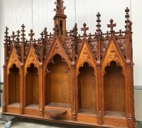 08....THE FINEST CARVED OAK GOTHIC BACK BAR/BOOKCASE TOP....85