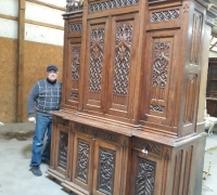 12...GREAT GOTHIC CARVED SIDEBOARD 117 H X 80 W