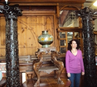 16..THE FINEST CARVED ANTIQUE WALNUT COLUMNS....10 FT H...C. 1850