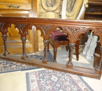 1292 - Great Carved Gothic Railing- 34 ft. long x 26''H