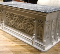 21.....GREAT CARVED FRONT BAR OR ISLAND...7 FT LONG X 3 FT DEEP
