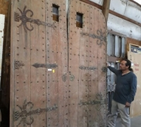 26A...GREAT 90 H X 120 W ANTIQUE CASTLE DOORS C. 1800