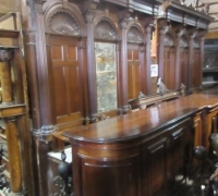 1437- Great Walnut Back Bar - 16' long now - c.1870 - Can separate in the center to become up to 30' long x 11' h - 2 FRONT BARS each 16ft.- Can become up to 32 ft. w - Lg carved shells and finials- see # 828b to #834 - # 856 to # 879
