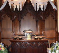 1206 - 1 OF THE FINEST CARVED ALTAR BACKS (back bar) IN THE USA! - walnut - C. 1880 - 12' 6'' W X 13' 8'' H see # 1150 to #1154