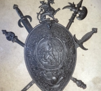 124- sold -antique-iron-shield-with-weapons-26-w-x-34-h