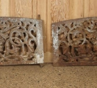 439....PAIR CAST IRON MASK WINDOW QUARDS 18.5 H X 34.25 W X 1.75 D