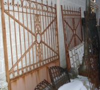 59- sold - 1-pr-antique-iron-gates-13-w-x-7-h