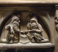 247 - 36'' w x 43'' h - carved oak gnome blacksmiths