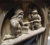 248 - 36'' w x 43'' h - carved oak gnome blacksmiths