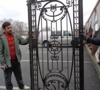 194  - sold -ORIGINAL CLUB ''21'' IRON DOOR - 600 LBS  - ANTIQUE IRON DOOR FROM NEW YORK CITY - CIRCA 1910 - 46'' W X 93'' H