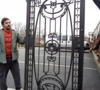 195  ORIGINAL CLUB ''21'' IRON DOOR - 600 LBS  - ANTIQUE IRON DOOR FROM NEW YORK CITY - CIRCA 1910 - 46'' W X 93'' H