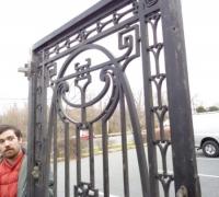 197  ORIGINAL CLUB ''21'' IRON DOOR - 600 LBS  - ANTIQUE IRON DOOR FROM NEW YORK CITY - CIRCA 1910 - 46'' W X 93'' H