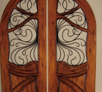 210-pair-of-new-iron-and-wood-arched-doors