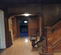 54  -The  FINEST antique carved staircase in the USA!  -  With all the matching  wall paneling and  paneled large room and doors and matching huge  11 ft  6'' h x 85'' w - matching mantle - c. 1870 - 54 ft. long - 3 story staircase can become a 2 story staircase.