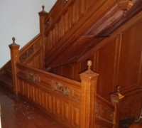 57 The  FINEST antique carved staircase in the USA!  -  With all the matching  wall paneling and  paneled large room and doors and matching huge  11 ft  6'' h x 85'' w - matching mantle - c. 1870 - 54 ft. long - 3 story staircase can become a 2 story staircase.