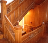 58  -THIS  FINEST   CARVED  STAIRCASE IN THE   USA !!!!   3    STORY   -   54 FT  LONG IN  7   SECTIONS --   WITH  ABOUT  125  LINEAR  FOOT OF MATCHING 12 FT. HIGH WALL PANELING - 12 FT HIGH   -  AND MATCHING    11 FT 6     MANTLE WITH 12 MATCHING DOORS ( MORE PICTURES PG. 3-4-5)