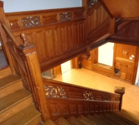 59  -The  FINEST antique carved staircase in the USA!  -  With all the matching  wall paneling and  paneled large room and doors and matching huge  11 ft  6'' h x 85''w