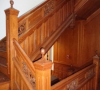 61 -The  FINEST antique carved staircase in the USA!  -  With all the matching  wall paneling and  paneled large room and doors and matching huge  11 ft  6'' h x 85'' w - matching mantle - c. 1870 - 54 ft. long - 3 story staircase can become a 2 story staircase.