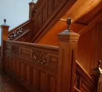 72 -The  FINEST antique carved staircase in the USA!  -  With all the matching  wall paneling and  paneled large room and doors and matching huge  11 ft  6'' h x 85'' w - matching mantle - c. 1870 - 54 ft. long - 3 story staircase can become a 2 story staircase.