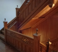 80 -The  FINEST antique carved staircase in the USA!  -  With all the matching  wall paneling and  paneled large room and doors and matching huge  11 ft  6'' h x 85'' w - matching mantle - c. 1870 - 54 ft. long - 3 story staircase can become a 2 story staircase.