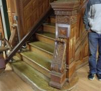 88 -The  FINEST antique carved staircase in the USA!  -  With all the matching  wall paneling and  paneled large room and doors and matching huge  11 ft  6'' h x 85'' w - matching mantle - c. 1870 - 54 ft. long - 3 story staircase can become a 2 story staircase.