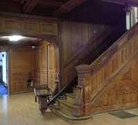 01a THIS  FINEST CARVED STAIRCASE IN THE USA !!!!  3 STORY - 54 FT LONG IN 7 SECTIONS -- WITH ABOUT 125  LINEAR  FOOT OF MATCHING 12 FT. HIGH WALL PANELING - 12 FT HIGH - AND MATCHING 11 FT 6 MANTLE WITH 12 MATCHING DOORS ( SEE MORE PICTURES #54 TO #114)
