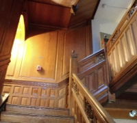 107 -The  FINEST antique carved staircase in the USA!  -  With all the matching  wall paneling and  paneled large room and doors and matching huge  11 ft  6'' h x 85'' w - matching mantle - c. 1870 - 54 ft. long - 3 story staircase can become a 2 story staircase.