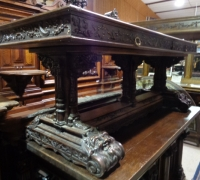 294 - sold -GREAT CARVED WALNUT TABLE - DESK - 32'' D X 79'' L