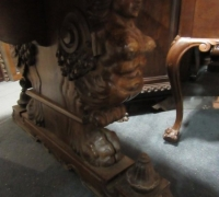 411- GREAT CARVED MAHOG. DESK - TABLE - 72'' W X 36'' D WITH 2 DRAWERS