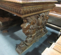 413- GREAT CARVED MAHOG. DESK - TABLE - 72'' W X 36'' D WITH 2 DRAWERS