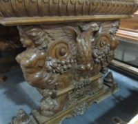 415- GREAT CARVED MAHOG. DESK - TABLE - 72'' W X 36'' D WITH 2 DRAWERS