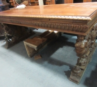 417- GREAT CARVED MAHOG. DESK - TABLE - 72'' W X 36'' D WITH 2 DRAWERS